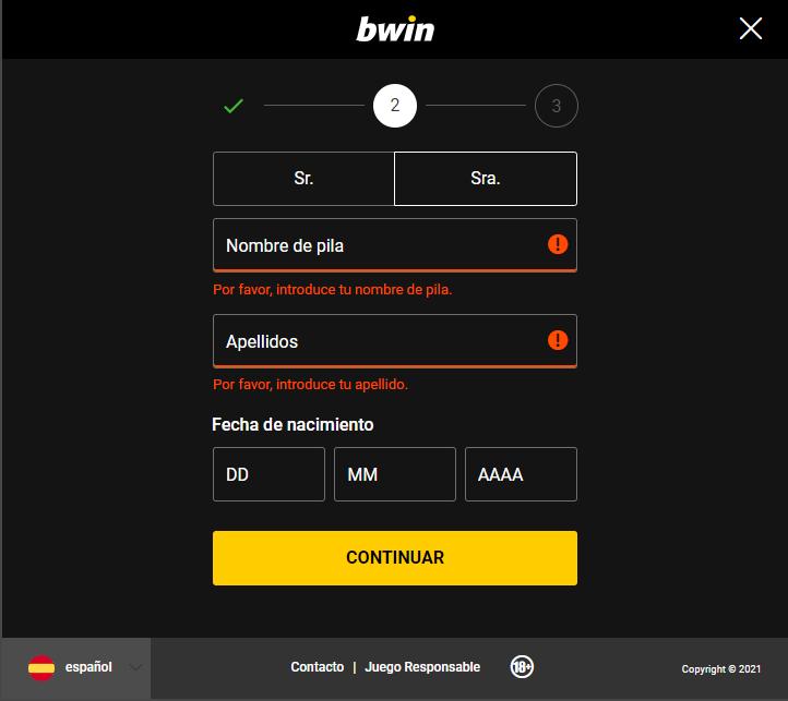 bwin registro datos personales